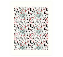 Graphic pattern in love birds  Art Print