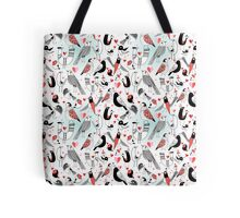Graphic pattern in love birds  Tote Bag