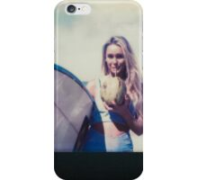 Polaroid of Blond Female Surfer Girl Holding Surfboard and Drinking Fresh Coconut iPhone Case/Skin