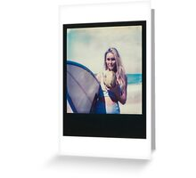 Polaroid of Blond Female Surfer Girl Holding Surfboard and Drinking Fresh Coconut Greeting Card