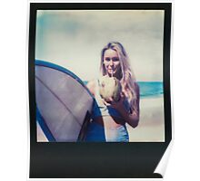 Polaroid of Blond Female Surfer Girl Holding Surfboard and Drinking Fresh Coconut Poster