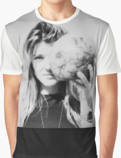 Black and White Polaroid of Young Woman Holding Coconut in Front of Face Graphic T-Shirt