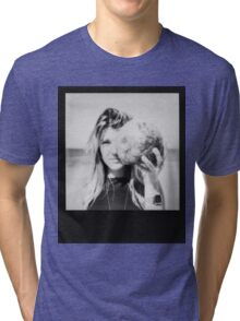 Black and White Polaroid of Young Woman Holding Coconut in Front of Face Tri-blend T-Shirt