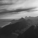 Rio de Janeiro - Copacabana Beach With Dramatic Sky in Black and White by visualspectrum
