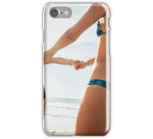 Two Young Pretty Blond Girls Having Fun Together on Sunny Beach iPhone Case/Skin