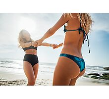 Two Young Pretty Blond Girls Having Fun Together on Sunny Beach Photographic Print