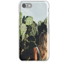 Young Blond Girl Standing in Front on Cacti iPhone Case/Skin