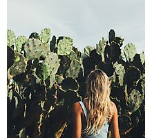 Young Blond Girl Standing in Front on Cacti Photographic Print