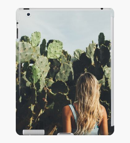 Young Blond Girl Standing in Front on Cacti iPad Case/Skin