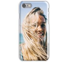 Young Pretty Blond Girl - Beach Portrait on Windy Morning iPhone Case/Skin