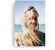 Young Pretty Blond Girl - Beach Portrait on Windy Morning Canvas Print