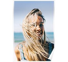 Young Pretty Blond Girl - Beach Portrait on Windy Morning Poster