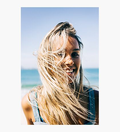 Young Pretty Blond Girl - Beach Portrait on Windy Morning Photographic Print