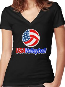 USA TEAM VOLLEYBALL  Women's Fitted V-Neck T-Shirt
