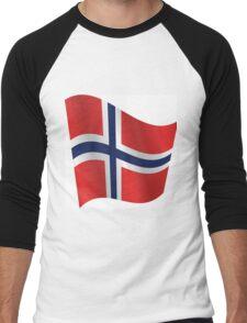 Waving Flag of Norway Men's Baseball ¾ T-Shirt