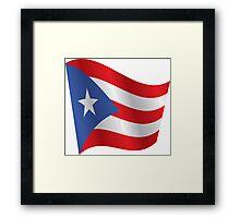 Waving Flag of Puerto Rico Framed Print