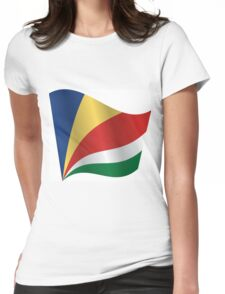 Waving Flag of Seychelles Womens Fitted T-Shirt