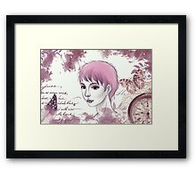 Nerdy Girl Pastell Vintage Postcard Framed Print