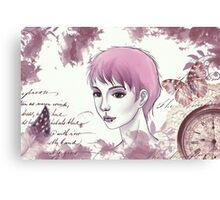 Nerdy Girl Pastell Vintage Postcard Canvas Print