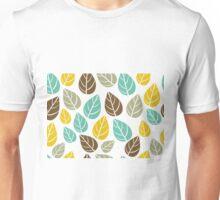 Stylized Colorful Pastel Tones Fall Leafs Pattern Unisex T-Shirt