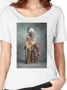 Colorized American Indian Chief Porcupine circa 1900 Women's Relaxed Fit T-Shirt