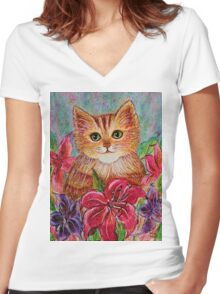 Tiger Puff Women's Fitted V-Neck T-Shirt