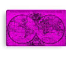 World Map (1691) Pink & Black Canvas Print