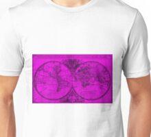 World Map (1691) Pink & Black Unisex T-Shirt