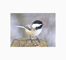 Chickadee on a used to be tree Unisex T-Shirt