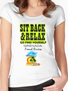 Sit Back And Relax In Grenada, French Riviera Women's Fitted Scoop T-Shirt