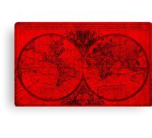 World Map (1691) Red & Black Canvas Print
