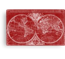 World Map (1691) Red & White Canvas Print