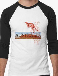 Australia Ayers Rock & Kangaroo Men's Baseball ¾ T-Shirt