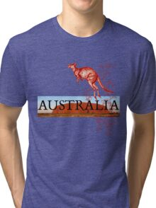 Australia Ayers Rock & Kangaroo Tri-blend T-Shirt