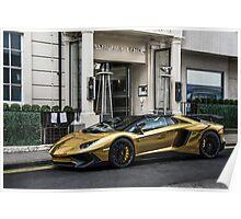 Chrome Gold Lamborghini Aventador SV LP750-4  Poster