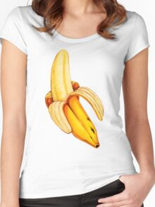 Banana Pattern - Blue Women's Fitted Scoop T-Shirt