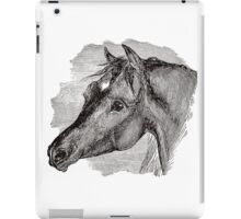 Vintage Horse Head Illustration Retro 1800s Black and White Image iPad Case/Skin
