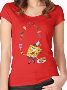 Spongebob and Krabby Patties Women's Fitted Scoop T-Shirt