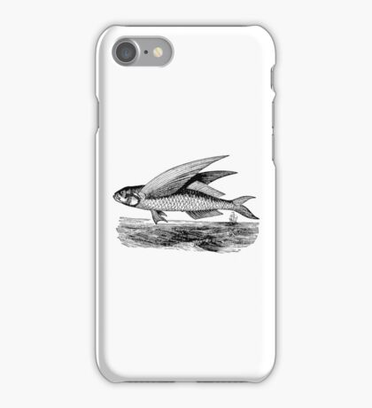 Vintage Flying Fish Ocean Bottom Illustration Retro 1800s Black and White Image iPhone Case/Skin