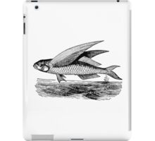 Vintage Flying Fish Ocean Bottom Illustration Retro 1800s Black and White Image iPad Case/Skin