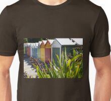 Boat sheds beyond the flax bushes. Unisex T-Shirt