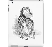 Vintage Giraffe Illustration Retro 1800s Black and White Image iPad Case/Skin