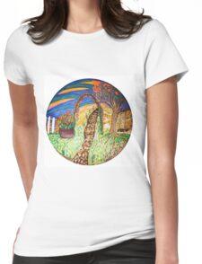 Vintage Garden Path Mandala Womens Fitted T-Shirt