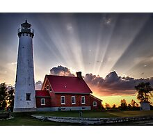 Tawas Point Lighthouse Sunset - Michigaan Photographic Print