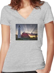 Tawas Point Lighthouse Sunset - Michigaan Women's Fitted V-Neck T-Shirt