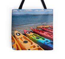 Multi colored kayaks. Tote Bag