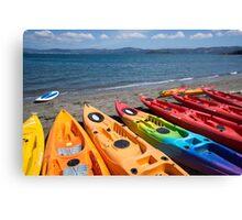 Multi colored kayaks. Canvas Print