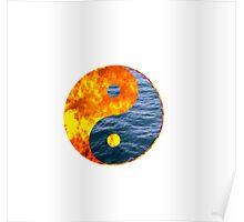 Fire Water Ying Yang Poster