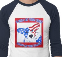 Land of the free home of the brave corgi Men's Baseball ¾ T-Shirt