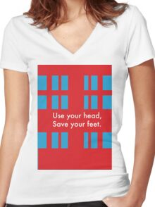 Use your head, save your feet Women's Fitted V-Neck T-Shirt